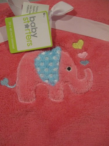 Elephant with Hearts Soft Baby Girl Blanket