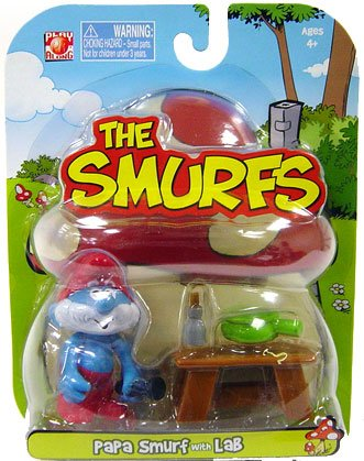 Smurfs 2 Inch Articulated Mini Figure Papa Smurf with Lab Accessory - 1