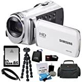 Samsung HMX-F90 5MP 1280x720 30p HD Camcorder in White + 32GB Secure Digital Memory Card + Deluxe SLR Soft Photo & Video Medium Case w Shoulder Strap & 2 Dividers + Memory Card Wallet + 5 Piece Cleaning Kit + Vivitar 7