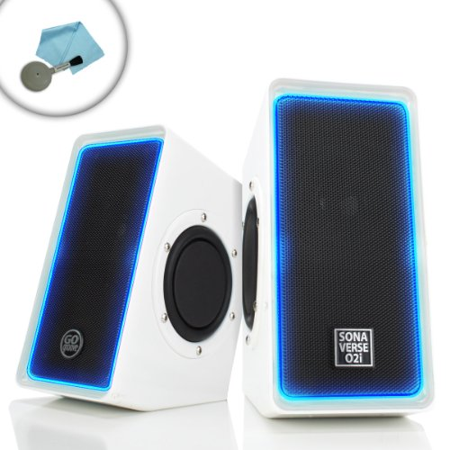 Sonaverse O2I Glowing Pc Gaming Computer Speakers W/ Usb Plug-N-Play Design - Works Great W/ World Of Warcraft , Dota , Diablo , Call Of Duty , The Elder Scrolls Online & More - Incl. Cleaning Kit
