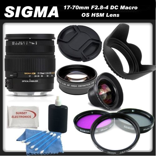 Sigma 17-70mm F2.8-4 DC Macro OS HSM Lens for Canon Digital Cameras + SSE Picture Perfect Lens Accessory Kit!