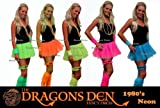 Neon Pleated Tutu 1980s Clubbers Fancy Dress Dancewear Hen Party UK (Neon Green 4pc set)