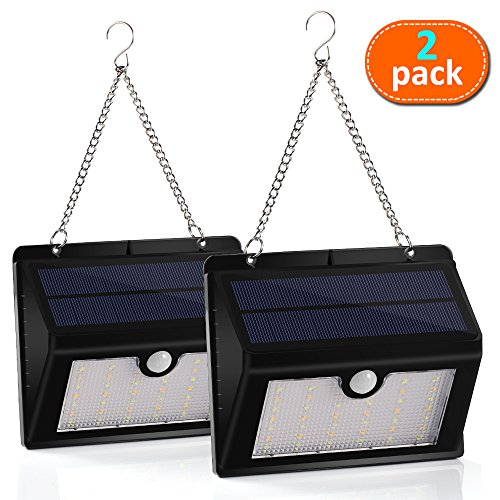 [Dual Color Light 300Lumens Max] 44LED Solar Outdoor Motion Lights-22LED with Cool Light-22LED with Warm Light, Bright Outdoor Lights with Hanging Hook, Wireless Exterior Security Lighting, 3Modes