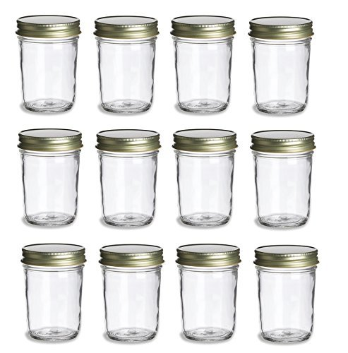 Nakpunar 12 Pieces Mason Jars, 9 oz