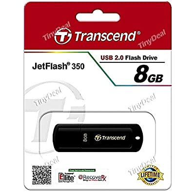 TRANSCEND JF350 Classic Slim 8GB USB2.0 U Disk USB Flash Drive USB Pen Drive - Piano Black EUD-319935