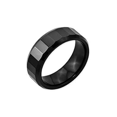 Black Bow Jewellery Company : Black Ceramic, 8mm Beveled Edge & Faceted Comfort Fit Band