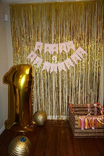 ShinyBeauty Foil Fringe Curtain Gold-3FTX8FT Door Window Curtain/Backdrops Photo Backdrop Party Decoration (Gold Streamer Backdrop compare prices)