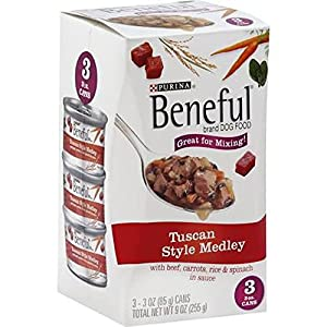 Purina Beneful Tuscan Style Medley,  3-pack 3 OZ cans (Case of 8) Total 24 cans