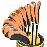 Craftsman Golf 10 x Golf Club Iron Window Headcover Neoprene Head Covers for Titleist, Callaway, Taylormade Iron Protector You choose Color (Orange / Black)