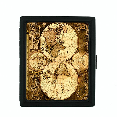 Perfection In Style Metal Cigarette Case Vintage World Maps Design 003