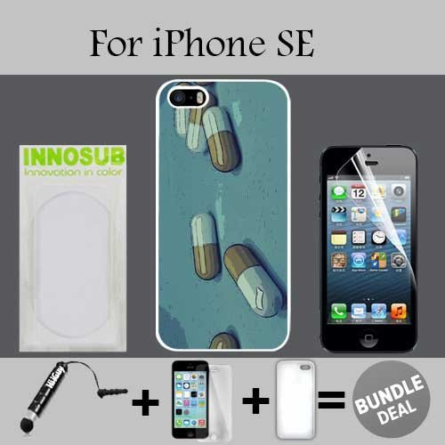 Popping Mollies Pill Popper Rave Life Custom iPhone SE Cases-White-Plastic,Bundle 3in1 Comes with Screen Protector/Universal Stylus Pen by innosub (Popper Pens compare prices)