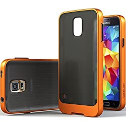 Galaxy S5 Case, Caseology [Frostback Clear] Samsung Galaxy S5 Case [Flexible Cushion] [Orange] Full Button Protection...
