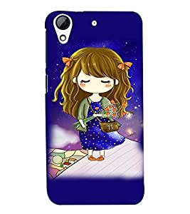 Fuson Premium Girl With Roses Printed Hard Plastic Back Case Cover for HTC Desire 626