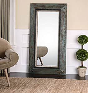 Amazon Com Oversize Distressed Teal Wood Mirror Wall