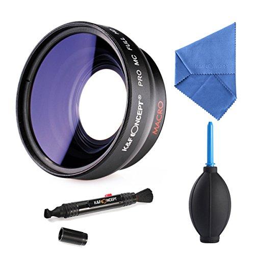 K&F Concept 52mm Super Weitwinkelkonverter 0.45x Professionell HD Weitwinkel Objektiv Vorsatz mit Makrolinse mit Reinigungstuch Reinigungspinsel Blasebalg für Canon Rebel T5i T3i XTi XS T4i T2i XT SL1 T3 T1i XSi EOS 1000D 600D 450D 100D 650D 700D 550D 400D 500D 300D 1100D and Nikon D7100 D5100 D3100 D300 D90 D70s D40x D3X D7000 D5000 D3000 D300S D80 D60 D3 D5200 D3200 D700 D200 D70 D40 D3S