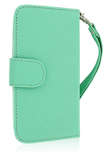 Mylife (Tm) Mint Green {Glamorous Design} Faux Leather (Card, Cash And Id Holder + Magnetic Closing) Slim Wallet For The All-New Htc One M8 Android Smartphone - Aka, 2Nd Gen Htc One (External Textured Synthetic Leather With Magnetic Clip + Internal Secure