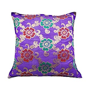 "Indian Decorative Brocade Pillow Case Floral Pattern Home Decor Purple Traditional Designer Cushion Cover 24"" Inches"