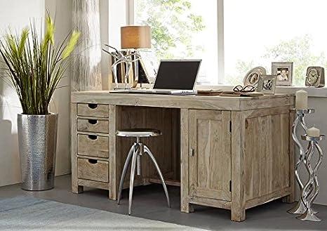 Akazie massiv Möbel Holz Schreibtisch Massivmöbel Nature White #70