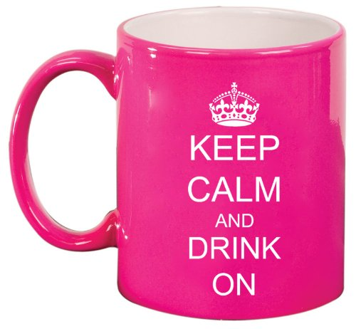 Keep Calm And Drink On Crown Ceramic Coffee Tea Mug Cup Hot Pink