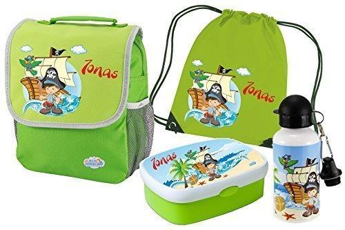 Kindergartenrucksack-Happy-Knirps-mit-Name-und-Wunschmotiv-grn-SET-5-Rucksack-Brotdose-Turnbeutel-Trinkflasche