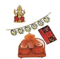 Skylofts Set of 2 Chocolate tablas with a beautiful candle diya set & a bandanwaar, ganeshji idol Diwali combo