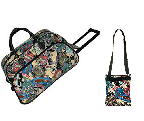 carry-on-rolling-duffel-travel-set-21-paisley-black-bag-with-over-shoulder-swing-bag