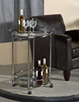 Chrome Metal and Glass Serving Trolley with World Map