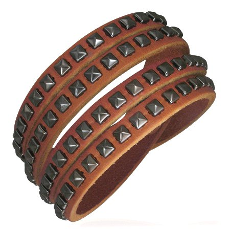 Beautiful Double Wrap Bronze Leather Bracelet, Pyramid Stud Accents, Fits 6 to 7 Inches