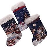 46cm chaussette de Noël scintellante - Scène de Noël - lumières DEL.