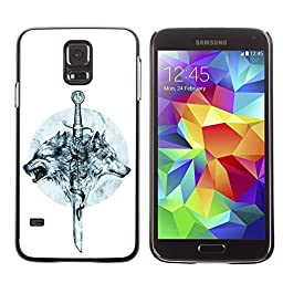 A-type Colorful Printed Hard Protective Back Case Cover Shell Skin for Samsung Galaxy S5 V SM-G900 ( Game Of Thrones Wolves & Sword )
