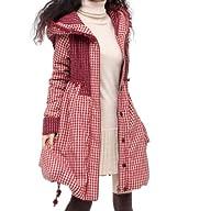 Artka Women's Delicate Plaid Oversize Hood Thick Long Wadded Coat