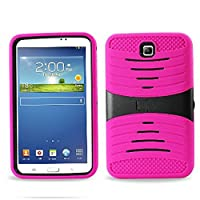 Heavy Duty rugged Silicone+PC impact Hybrid Case with Build In Kickstand Protective Case For Samsung Tablet Galaxy Tab 3 7inch P3200 (Hot Pink) by Goodsmile