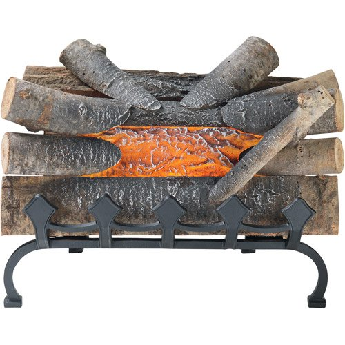 "20"" Natural Wood Electric Crackle Log With Grate, Goes Into Any Fireplace"