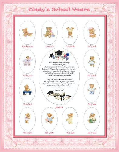 11 X 14 Size Personalized Baby Girl Name Pink Ribbon Border My School Years Picture Photo Mat With Teddy Bear Illustration And Poem Verse As Baby Shower, Birthday Or Nursery Newborn Gifts