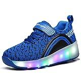 SDSPEED Kids Roller Skate Shoes with Single Wheel Shoes Sport Sneaker LED (Color: Led Dapple Blue, Tamaño: 2.5 M US Little Kid)