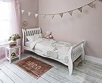 Single Bed in White 3ft Single Sleigh Wooden Frame Astrid