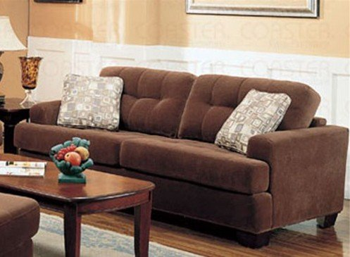 Sofa Couch Button Tufted Accents Terry Cloth Brown Fabric Best Buy
