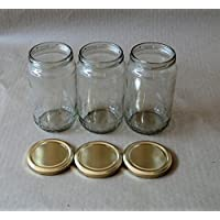 Pure Source India Good Quality 800 Gm Round Jar Set Of 3 Jar ,with Rust Proof Metal Golden Color Cap Suitable...
