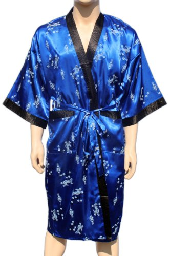 Blue Kimono Bathrobe Robe Dressing Gown Thai Coat Night / Available in 11 different colours