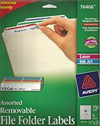 Avery 16466 Removable File Folder Labels, 150 Per Pack - 2 Packs - 300 Total