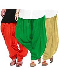 Women's ORANGE-GREEN-BEIGE Cotton Patiala Salwar (pack Of 3)