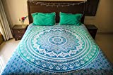 Folkulture Tealtastic Ombre Bedspread - Bohemian Wall Tapestry - Hippie Tapestry Throw - Hippy Indian Wall Hanging - Mandala Bedding / Bedspreads - Queen Size - Bonus Pair of Pillow Covers (Blue)
