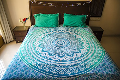 Folkulture-Tealtastic-Ombre-Bedspread-with-Pillow-Covers-Indian-Bohemian-Tapestry-Wall-Hanging-Picnic-Blanket-or-Hippie-Beach-Throw-Hippy-Mandala-Bedding-for-Bedroom-Queen-Size-Boho-Spread