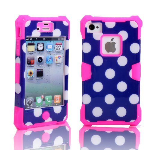 Magicsky Plastic + Silicone Hybrid Polka Dot Pattern Active Glow Case For Apple Iphone 4 4S 4G - 1 Pack - Retail Packaging - Hot Pink/Dark Blue