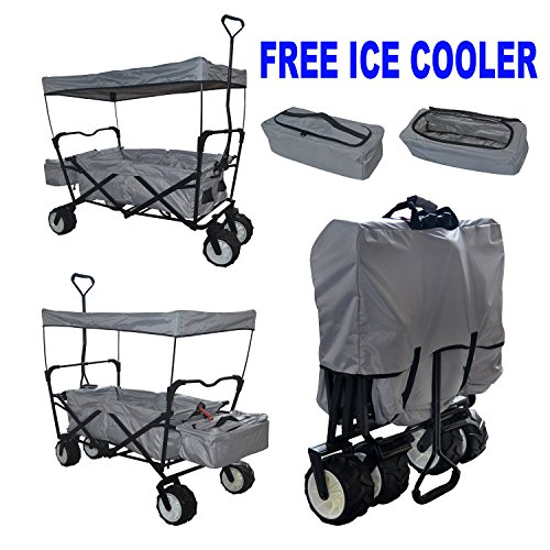 GREY EXTRA BIG JUMBO TIRES ALL PURPOSE FREE ICE COOLER GRAY OUTDOOR SPORT COLLAPSIBLE FOLDING WAGON W/ CANOPY GARDEN UTILITY SHOPPING TRAVEL CART LARGE BEACH - EASY SETUP NO TOOL NECESSARY (Orange Free State compare prices)