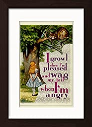 Alice In Wonderland Meets The Chesire Cat Ready To Frame Mounted /Matted Dictionary Art Print