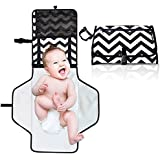 3 Bees & Me Changing Pad Diaper Clutch - Portable Diaper Changing Station Kit with Mat for Travel, Chevron