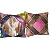Gift Idea-2 Deep Sandstrum Hot Pink Blue Sari Zari Borders Toss Pillow Cushion Coversby Mogulinterior