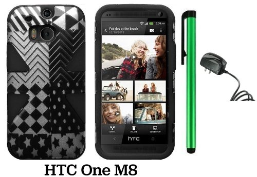 Htc One (M8) Dynamic Slim Hybrid Premium Pretty Design Protector Cover Case + Travel (Wall) Charger + 1 Of New Assorted Color Metal Stylus Touch Screen Pen (Checkered Star Plastic / Black Silicone)