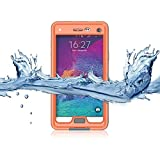 Samsung galaxy Note 4 IP-68 Untra Kick-stand Waterproof Case Cover ,Nika shop Swimming Diving New Full Body Crystal 6.6 Ft Underwater Attached Screen Protector Waterproof Water Resistant Heavy Duty Slim Case Cover for Samsung galaxy Note 4 Phone, Rugged Hard Armor Underwater Durable Full Body Sealed Protection Skin Pouch dirtproof dustproof Snowproof Sweatproof Shockproof Hard Armor Protective Heavy Duty Defender Built-in Screen Protector Rugged Cover Case for Samsung galaxy Note 4 +Free Screen Protect + Hand Strap - Retail Packaging (Nika shop-Orange)